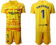 Wholesale Cheap Barcelona #1 Ter Stegen Yellow Goalkeeper Soccer Club Jersey