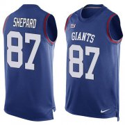 Wholesale Cheap Nike Giants #87 Sterling Shepard Royal Blue Team Color Men's Stitched NFL Limited Tank Top Jersey