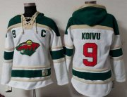 Wholesale Cheap Wild #9 Mikko Koivu White Sawyer Hooded Sweatshirt Stitched NHL Jersey