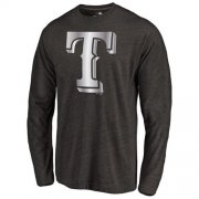 Wholesale Cheap Texas Rangers Platinum Collection Long Sleeve Tri-Blend T-Shirt Black