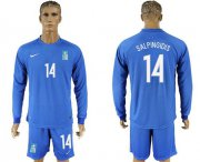 Wholesale Cheap Greece #14 Salpingidis Away Long Sleeves Soccer Country Jersey