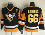 Wholesale Cheap Penguins #66 Mario Lemieux Black CCM Throwback Stitched Youth NHL Jersey