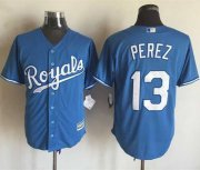 Wholesale Cheap Royals #13 Salvador Perez Light Blue Alternate 1 New Cool Base Stitched MLB Jersey