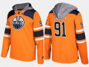 Wholesale Cheap Oilers #91 Drake Caggiula Orange Name And Number Hoodie