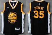 Wholesale Cheap Men's Golden State Warriors #35 Kevin Durant Black With White Edge Stitched NBA Adidas Revolution 30 Swingman Jersey