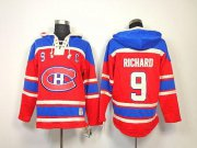 Wholesale Cheap Canadiens #9 Maurice Richard Red Sawyer Hooded Sweatshirt Stitched NHL Jersey