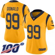 Wholesale Cheap Nike Rams #99 Aaron Donald Gold Women's Stitched NFL Limited Rush 100th Season Jersey