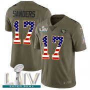Wholesale Cheap Nike 49ers #17 Emmanuel Sanders Olive/USA Flag Super Bowl LIV 2020 Youth Stitched NFL Limited 2017 Salute To Service Jersey