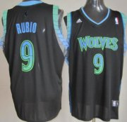 Wholesale Cheap Minnesota Timberwolves #9 Ricky Rubio Vibe Black Fashion Jersey