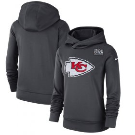 Wholesale Cheap NFL Women\'s Kansas City Chiefs Nike Anthracite Crucial Catch Performance Pullover Hoodie