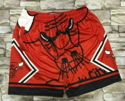 Wholesale Cheap Men's Chicago Bulls Red Big Face Mitchell Ness Hardwood Classics Soul Swingman Throwback Shorts