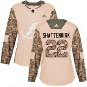 Cheap Adidas Lightning #22 Kevin Shattenkirk Camo Authentic 2017 Veterans Day Women's Stitched NHL Jersey