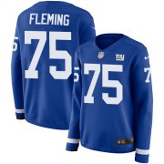 Wholesale Cheap Nike Giants #75 Cameron Fleming Royal Blue Team Color Women's Stitched NFL Limited Therma Long Sleeve Jersey