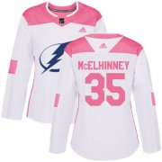 Cheap Adidas Lightning #35 Curtis McElhinney White/Pink Authentic Fashion Women's Stitched NHL Jersey