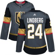 Wholesale Cheap Adidas Golden Knights #24 Oscar Lindberg Grey Home Authentic Women's Stitched NHL Jersey
