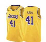 Wholesale Cheap Lakers 41 Anthony Davis Yellow Nike Swingman Jersey