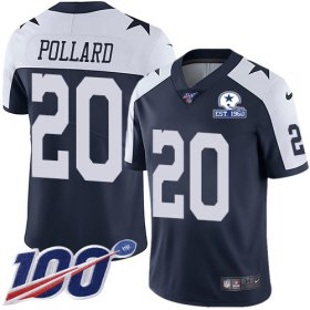 Wholesale Cheap Nike Cowboys #20 Tony Pollard Navy Blue Thanksgiving Men\'s Stitched With Established In 1960 Patch NFL 100th Season Vapor Untouchable Limited Throwback Jersey