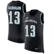 Wholesale Cheap Nike Eagles #13 Nelson Agholor Black Alternate Men's Stitched NFL Limited Rush Tank Top Jersey