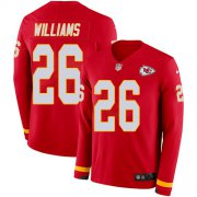 Wholesale Cheap Nike Chiefs #26 Damien Williams Red Team Color Men's Stitched NFL Limited Therma Long Sleeve Jersey