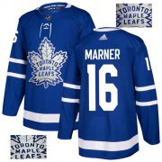 Wholesale Cheap Adidas Maple Leafs #16 Mitchell Marner Blue Home Authentic Fashion Gold Stitched NHL Jersey