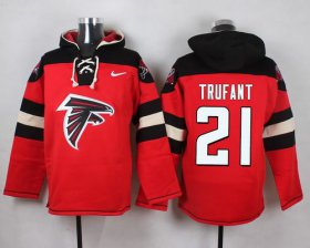 Wholesale Cheap Nike Falcons #21 Desmond Trufant Red Player Pullover NFL Hoodie