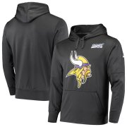 Wholesale Cheap Minnesota Vikings Nike 100th Season Primary Logo Circuit Performance Pullover Hoodie Anthracite