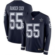 Wholesale Cheap Nike Cowboys #55 Leighton Vander Esch Navy Blue Team Color Men's Stitched NFL Limited Therma Long Sleeve Jersey