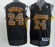 Wholesale Cheap Los Angeles Lakers #24 Kobe Bryant Revolution 30 Swingman All Black With Yellow Jersey