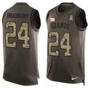 Wholesale Cheap Nike Giants #24 James Bradberry Green Men's Stitched NFL Limited Salute To Service Tank Top Jersey