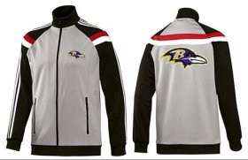 Wholesale NFL Baltimore Ravens Team Logo Jacket Grey