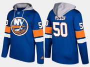 Wholesale Cheap Islanders #50 Adam Pelech Blue Name And Number Hoodie