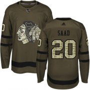 Wholesale Cheap Adidas Blackhawks #20 Brandon Saad Green Salute to Service Stitched Youth NHL Jersey