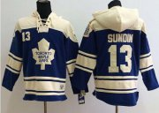 Wholesale Cheap Maple Leafs #13 Mats Sundin Blue Sawyer Hooded Sweatshirt Stitched NHL Jersey