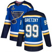 Wholesale Cheap Adidas Blues #99 Wayne Gretzky Blue Home Authentic Stanley Cup Champions Stitched NHL Jersey