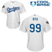 Wholesale Cheap Dodgers #99 Hyun-Jin Ryu White Cool Base 2018 World Series Stitched Youth MLB Jersey