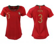 Wholesale Cheap Women's Portugal #3 Pepe Home Soccer Country Jersey