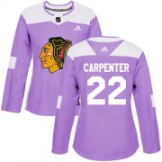 Wholesale Cheap Adidas Blackhawks #22 Ryan Carpenter Purple Authentic Fights Cancer Women's Stitched NHL Jersey