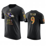 Wholesale Cheap Ravens #9 Justin Tucker Black Men's Black History Month T-Shirt
