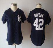 Wholesale Yankees #42 Mariano Rivera Navy Blue Women's Fashion Stitched Baseball Jersey