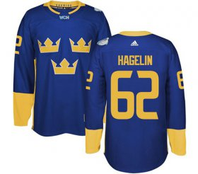Wholesale Cheap Team Sweden #62 Carl Hagelin Blue 2016 World Cup Stitched NHL Jersey