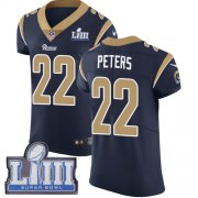 Wholesale Cheap Nike Rams #22 Marcus Peters Navy Blue Team Color Super Bowl LIII Bound Men's Stitched NFL Vapor Untouchable Elite Jersey