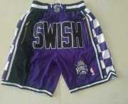 Wholesale Cheap Men's Sacramento Kings 1994-95 Black Just Don Shorts Swingman Shorts