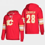 Wholesale Cheap Calgary Flames #28 Elias Lindholm Red adidas Lace-Up Pullover Hoodie