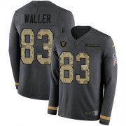 Wholesale Cheap Nike Raiders #83 Darren Waller Anthracite Salute to Service Men's Stitched NFL Limited Therma Long Sleeve Jersey