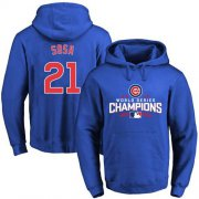 Wholesale Cheap Cubs #21 Sammy Sosa Blue 2016 World Series Champions Pullover MLB Hoodie