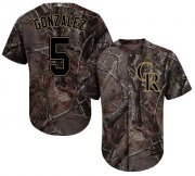 Wholesale Cheap Rockies #5 Carlos Gonzalez Camo Realtree Collection Cool Base Stitched Youth MLB Jersey