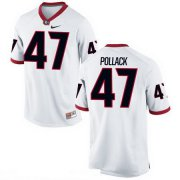Wholesale Cheap Men's Georgia Bulldogs #47 David Pollack White Stitched College Football 2016 Nike NCAA Jerse