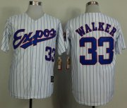 Wholesale Cheap Mitchell And Ness 1982 Expos #33 Larry Walker White(Black Strip) Throwback Stitched MLB Jersey