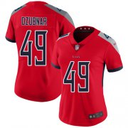 Wholesale Cheap Nike Titans #49 Nick Dzubnar Red Women's Stitched NFL Limited Inverted Legend Jersey