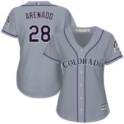 Wholesale Cheap Rockies #28 Nolan Arenado Grey Road Women's Stitched MLB Jersey